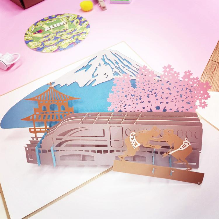 PGS7 日韓文具商品 - 日本 富士山 立體 造型 卡片 生日賀卡 / 萬用卡 / 情人節