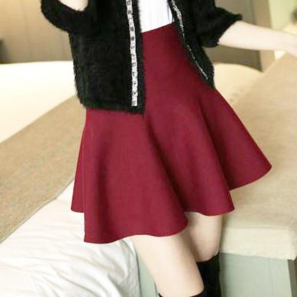 PS Mall 半身裙A字裙針織短裙高腰裙百褶裙a字傘裙【T4263】