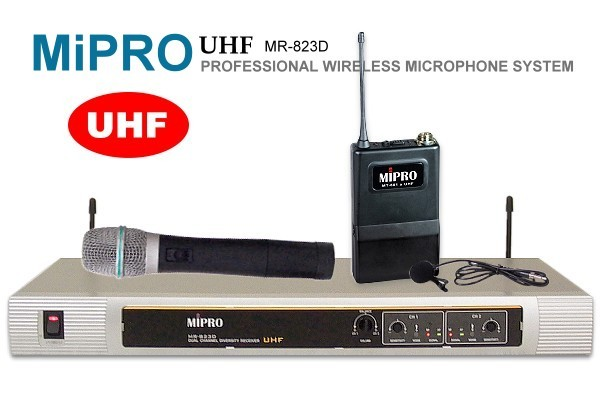 台灣製造MIPRO『嘉強』UHF超高頻無線麥克風MR-823【手握+領夾式麥克風】