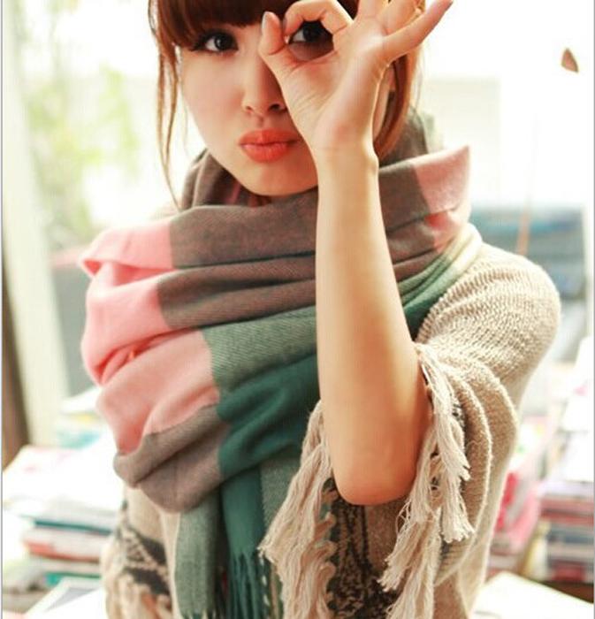 糖衣子輕鬆購【DS193】韓版時尚潮流仿羊絨格子圍巾披肩