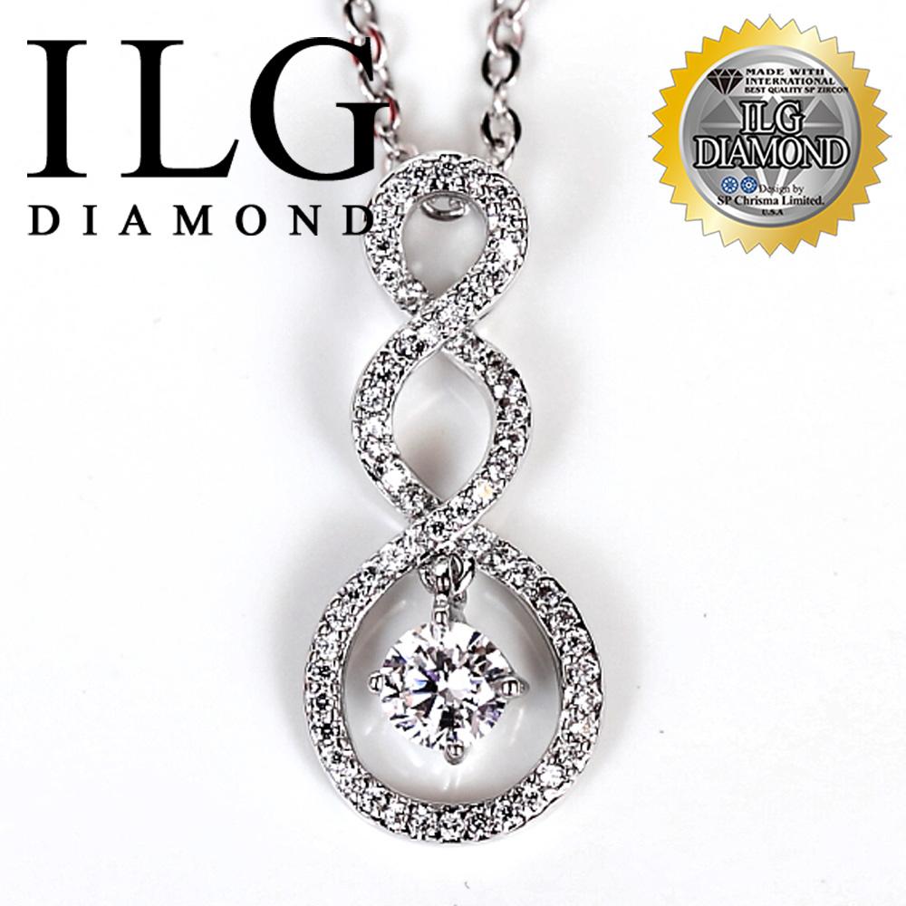 【ILG鑽】頂級八心八箭擬真鑽石項鍊-纏繞一世款NC037 Twining 約定誓言難忘回憶