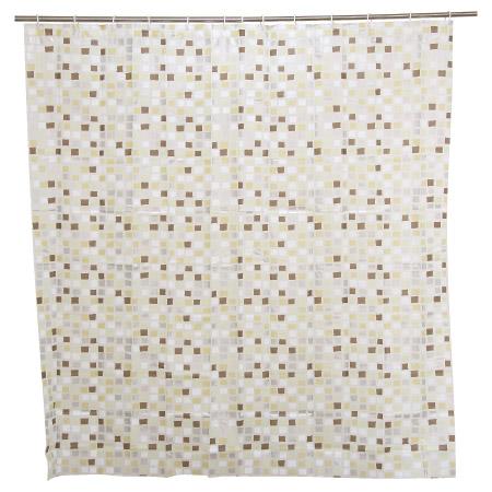 浴簾 PEVA 咖啡馬賽克 180x180cm