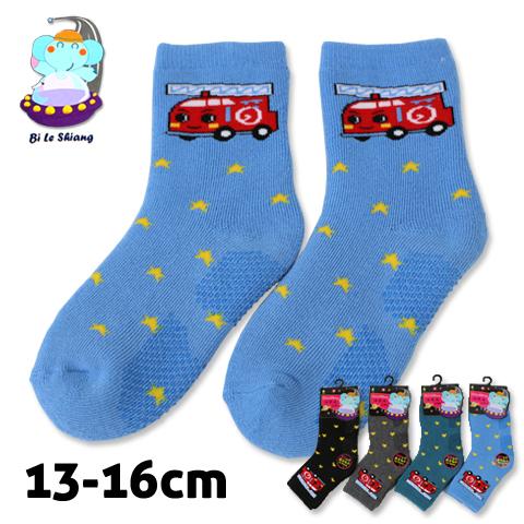 保暖毛巾底 止滑童襪 消防車款 台灣製 芽比 YABY