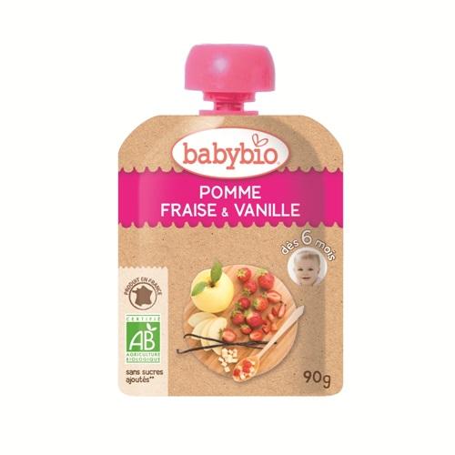 【安琪兒】法國【倍優babybio】有機蘋果草莓纖果泥90g(6個月)