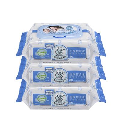 【悅兒樂婦幼用品舘】Baan 貝恩嬰兒EDI超純水保養柔濕巾80抽-3入