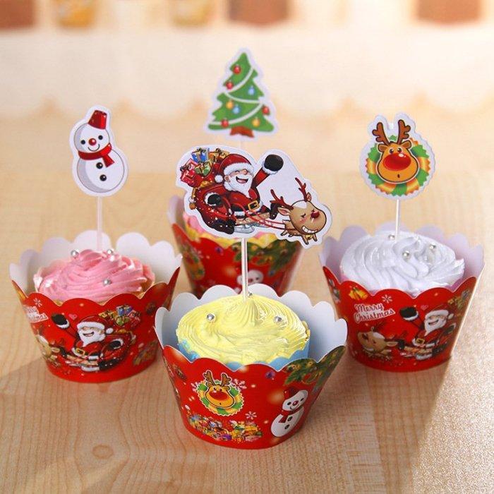 =優生活=烘焙包裝紙杯蛋糕 蛋糕裝飾 插牌圍邊+插牌裝飾 派對用品 兒童生日 彌月蛋糕 收綖蛋糕【聖誕節系列】