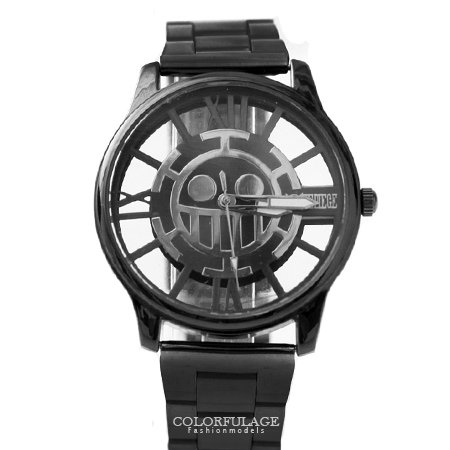 One Piece 海賊王 全黑錶殼個性鏤空手錶 中性款男女腕錶 禮物首選 柒彩年代【NE1488】原廠平行輸入