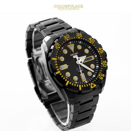 SEIKO精工5號盾牌 運動系列百米防水黑鋼黃字粗曠機械錶 不鏽鋼手錶 柒彩年代【NE1514】原廠平輸