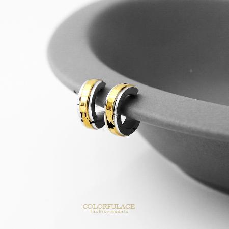 耳環 閃耀時尚金色設計夾式免打耳洞耳環 白鋼材質抗過敏.氧化 柒彩年代【ND205】單支售價