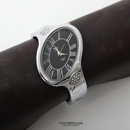 手錶 獨特不對稱橢圓造型羅馬數字手環式腕錶 鑲鑽點綴氣質女錶 柒彩年代【NE1568】單支售價