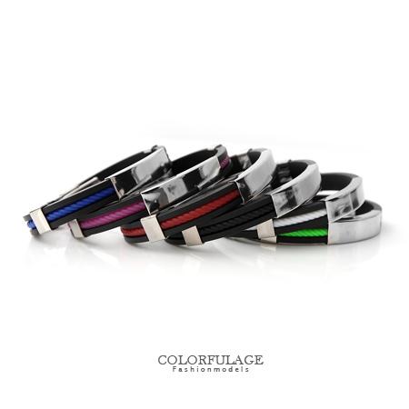 矽膠手環 簡單素面白鋼螺旋紋造型手環 潮流百搭人氣手鍊 繽紛配色 柒彩年代【NA330】單條