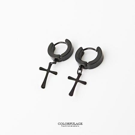 耳針耳環 細緻十字架鋼製黑色系耳針耳環 需有耳洞才能配戴 修飾臉型 柒彩年代【ND189】單支價格