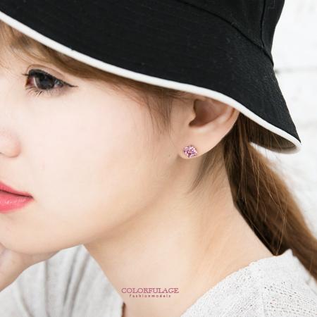 耳針 簡約方形鋯石單鑽7mm耳針耳環 耀眼色澤 中性款男女適宜 七色售 柒彩年代【ND202】單支價格