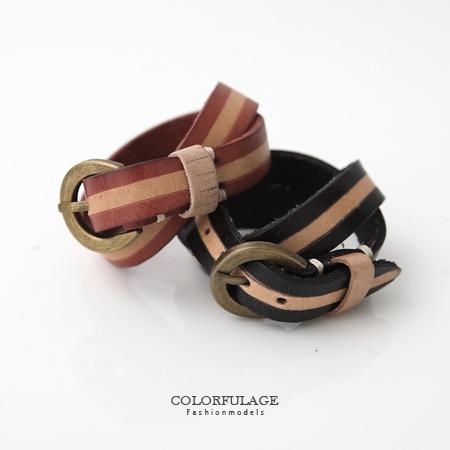手環手鍊 雙色皮革纏繞皮帶扣式手環 簡約紮實真皮單品 復古銅色扣頭 柒彩年代【NA328】單條