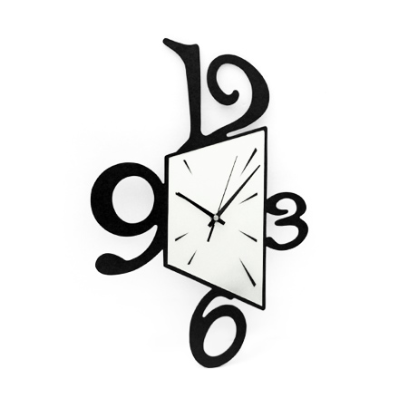 時鐘 個性幾何型狀黑白配色木質掛鐘壁鐘 藝術居家生活 柒彩年代 台灣製造【NE1538】創意家飾