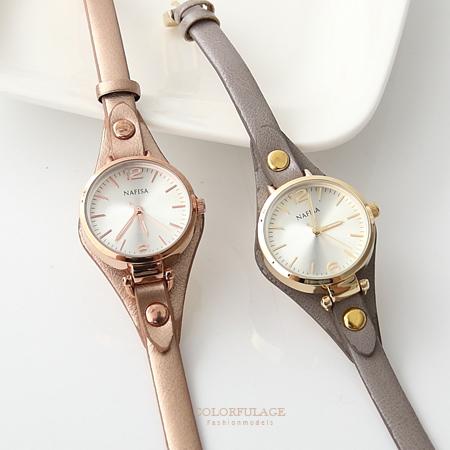優雅氣質女孩秀氣皮革腕錶