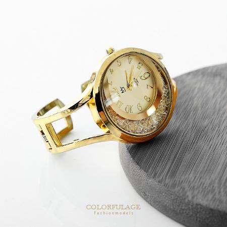 流沙碎鑽鏤空手環腕錶