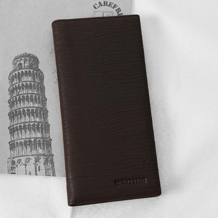 皮夾 logo咖啡色系橫波紋真皮長夾 實用CP值高 型男商務專屬 空間寬廣 柒彩年代【NW436】可放照片