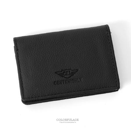 皮夾 logo沉穩黑色細紋翻式萬用卡夾 貼心收納小配件 輕巧耐髒實用 柒彩年代【NW437】可放照片