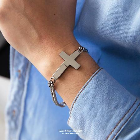 手鍊 時尚個性素面寬版十字架造型鎖鍊手環 經典潮流 專屬品味 柒彩年代【NA380】金屬元素