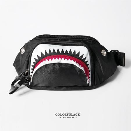多用途背包 獨特造型運動風 鯊魚造型隨身腰包 可側背 防潑水設計 柒彩年代【NZ466】型男街頭