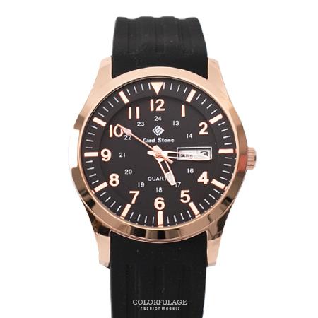 手錶 玫瑰金錶殼刻度數字黑面矽膠腕錶 搭戴SEIKO精工VX43石英機芯 柒彩年代【NE1794】30米防水