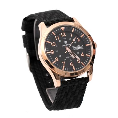 手錶 型男軍用玫瑰金錶殼刻度數字帆布腕錶 搭戴SEIKO精工VX43石英機芯 柒彩年代【NE1795】30米防水