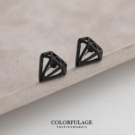 耳環 歐美個性 立體黑線條鑽石造型耳針耳環 流行單品 柒彩年代【ND170】一對價格