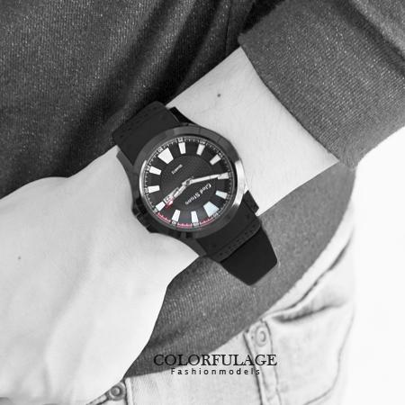 手錶 極限時光 型男運動編織紋雙圈錶盤矽膠腕錶 休閒時尚 柒彩年代【NE1241】不銹鋼錶殼