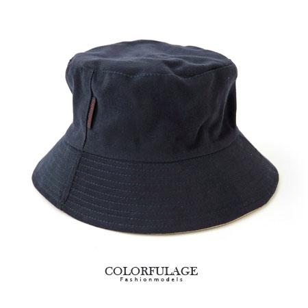 深藍色質感帆布漁夫帽 素面韓系簡約 戶外遮陽帽 柒彩年代【NH157】旅遊外出搭配