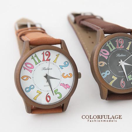 復刻版繽紛彩色刻度麂皮腕錶