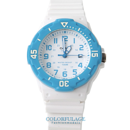 CASIO卡西歐 天空藍白色系電子手錶腕表 女孩小巧運動錶款 有保固 柒彩年代【NE1329】原廠公司貨
