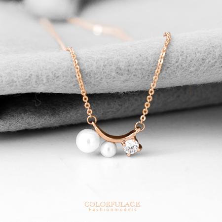 項鏈 別緻珍珠綴圓鑽氣質項鍊 玫瑰金質感抗過敏鎖骨短鍊頸鍊 柒彩年代【NB610】輕熟感氣質