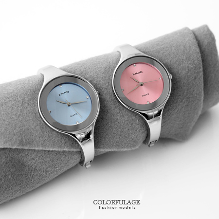 時尚簡約點鑽曲線素面腕錶