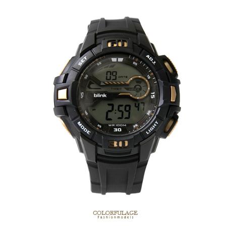 JAGA捷卡blink 原子小黑金運動型多功能電子手錶 防水100米 經典型男錶 柒彩年代【NE1409】單支