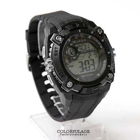 JAGA捷卡 豪邁設計運動風格多功能電子錶手錶 型男必備 防水100米 柒彩年代【NE1411】原廠公司貨
