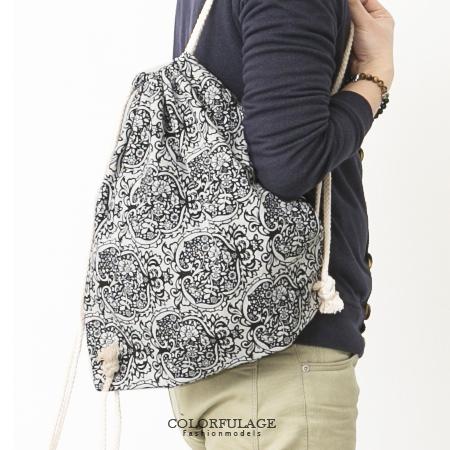休閒束口袋 歐風新潮 螺旋圖騰印花 帆布後背包 束口包 柒彩年代【NZ432】單個