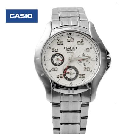 CASIO卡西歐EDIFICE系列 時尚白面三眼不鏽鋼手錶 多功能防水100米 柒彩年代【NE1463】原廠公司貨