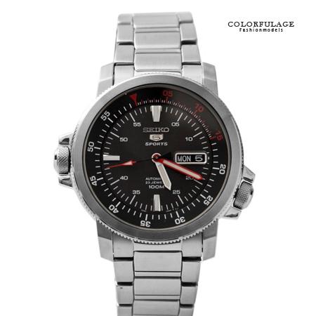 SEIKO精工五號 雙旋鈕消光黑錶盤自動上鍊機械錶 錶背鏤空手錶 柒彩年代【NE1481】原廠平行輸入