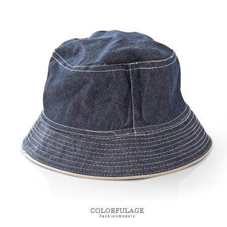 經典刷色牛仔布料漁夫帽 遮陽帽 紳士帽 休閒百搭 貼心雙面設計 柒彩年代【NH184】透氣舒適