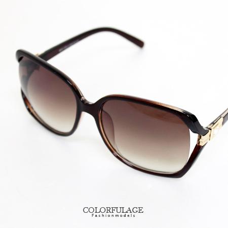 側邊崁入方鑽玳瑁大框墨鏡太陽眼鏡 時尚好搭  柒彩年代【NY151】夏日必備單品