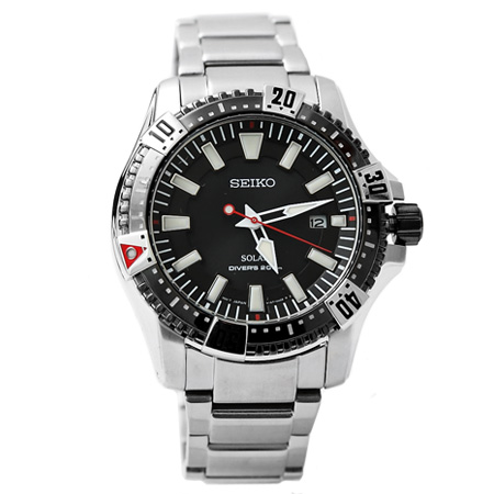 SEIKO潛水手錶 太陽能實用200米不銹鋼腕錶 粗曠型男 柒彩年代【NE1132】附贈禮盒+提袋