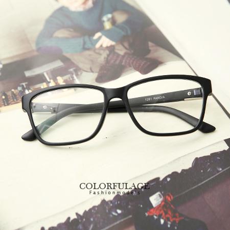 鏡框 簡單俐落 全素框側邊造型鐵片鏡架眼鏡 方框 膠框 簡約學院風 柒彩年代【NY237】單支