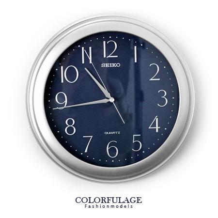 SEIKO精工時鐘 極簡數字雙圈銀藍配色圓形掛 簡單生活美學 柒彩年代【NE1185】原廠公司貨