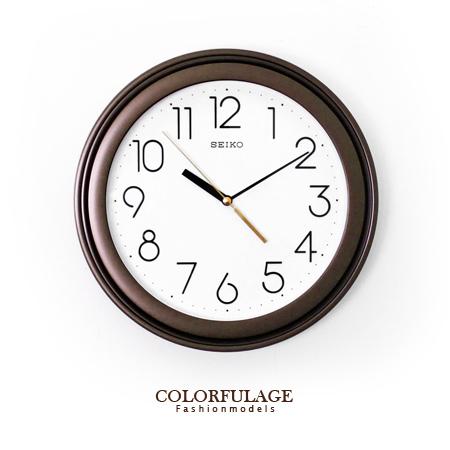 SEIKO精工時鐘 極簡數字雙圈可可配色圓形掛鐘 簡約素雅 柒彩年代【NE1186】原廠公司貨