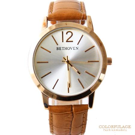 奢華玫瑰金線條美感皮革手錶