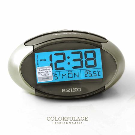 日本品牌SEIKO精工Digital數位電子式鬧鐘 冷光液晶顯示香檳金座鐘 柒彩年代【NE1196】原廠公司貨