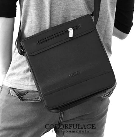 質感皮革都會商務側背包 厚實空間低調全黑色系 柒彩年代【NZ333】型男磁鐵扣設計