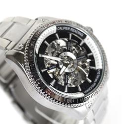 柒彩年代-機會只有一次【NE140】雙面鏤全鏤空時尚自動上鍊機械錶.鋼錶帶