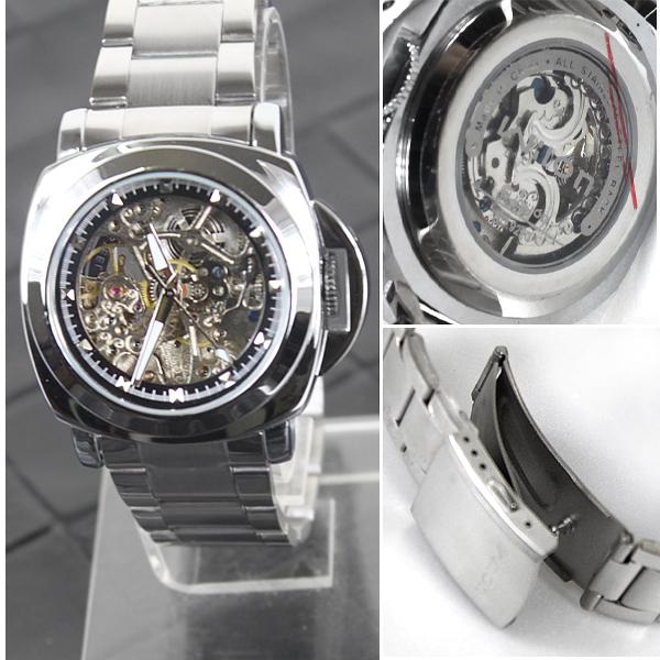 柒彩年代-免運費【NE132】不繡鋼錶帶超厚實自動上鍊機械錶~高磅數鏤空.雜誌時尚對錶